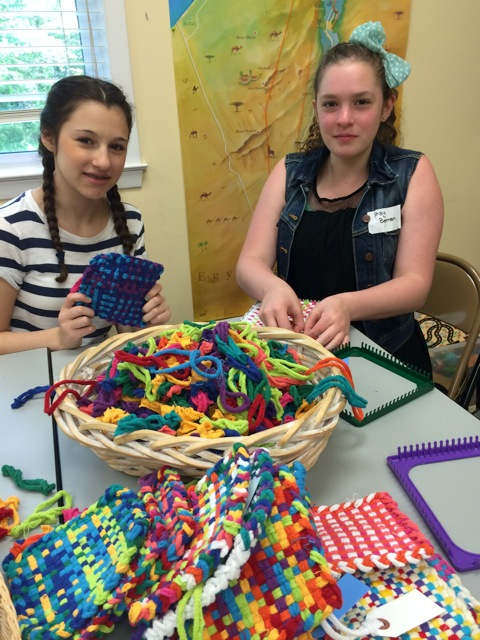 Jenna Lifshitz and Shay Beckman creating potholders. They will be available at Baker's Treat in Flemington, NJ.